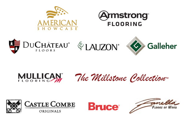 American Showcase, Armstrong, DuChateau, Lauzon, Galleher, Mullican Flooring, The Millstone Collection, Castle Combe, Bruce, Zanella Floors of Wood